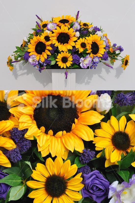 Opulent Sunshine Yellow Sunflower, Purple Rose, Lisianthus and Allium Wedding Top Table Arrangement