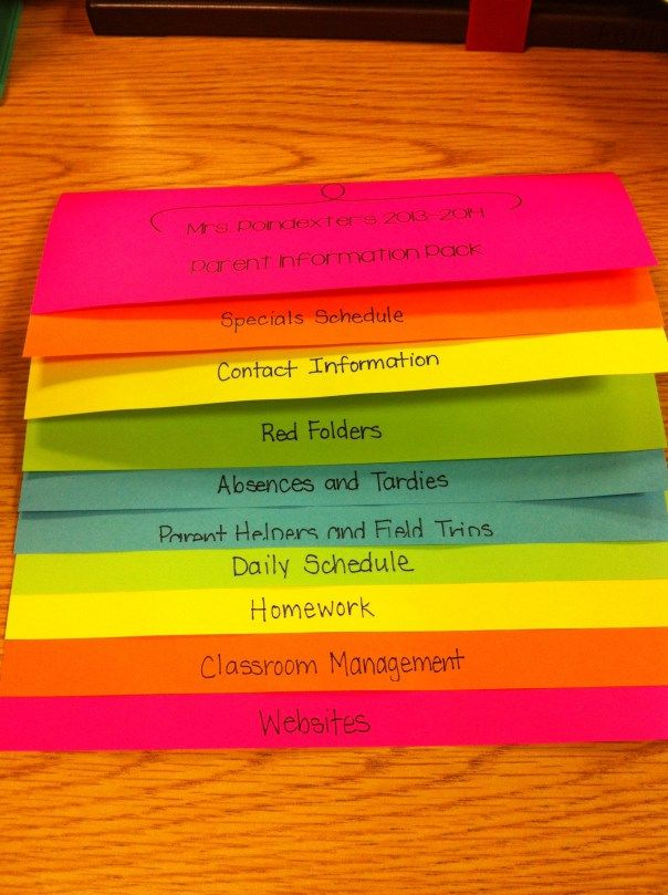 "I will make these! Great way to give a little ""handbook"" for your classroom for parents. Love the neon so it won't get lost amongst the endless pile of papers at home."