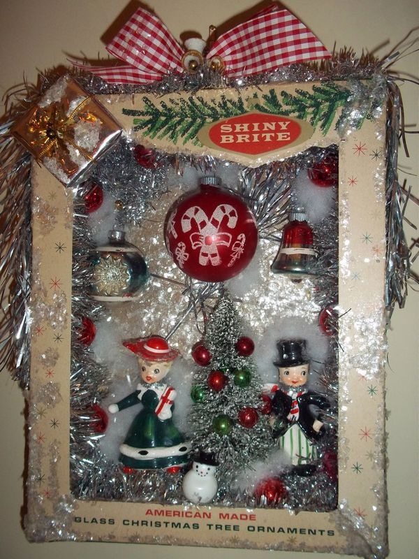 Shiny brite vintage christmas ornaments shadow box, wreath ...