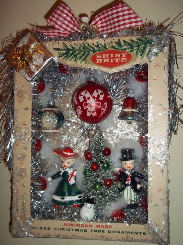 Shiny brite vintage christmas ornaments shadow box, wreath