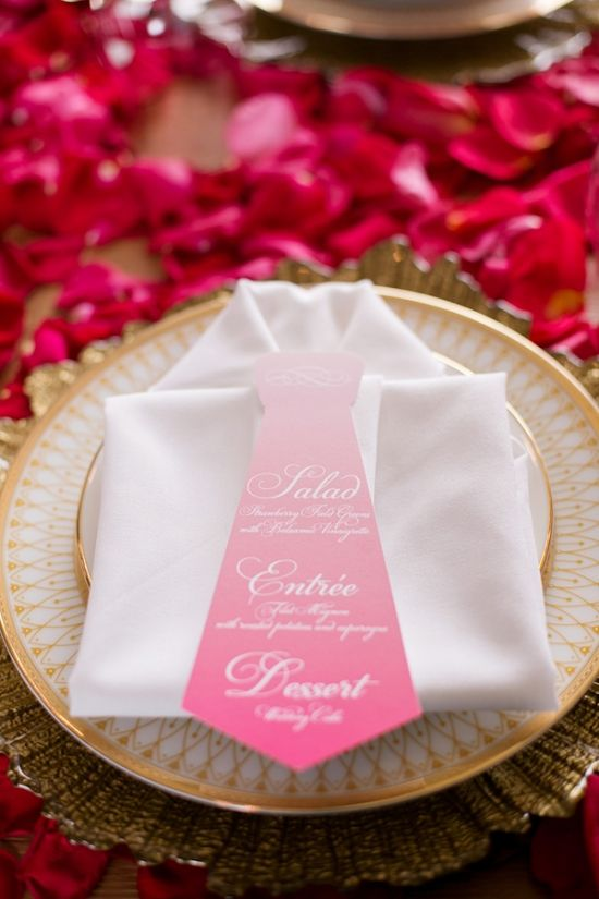 napkin folded as shirt and ombre necktie menu #weddingmenu #weddingreception #weddingchicks http://www.weddingchicks.com/2014/02/24/ruffles-and-roses-wedding-inspiration/