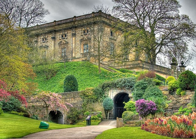 Nottingham Castle is an earthwork motte and bailey fortress, founded in 1067 by William the Conqueror. In 1170, King Henry II, founded the stone castle, when making the site the principal royal fortress in the Midlands