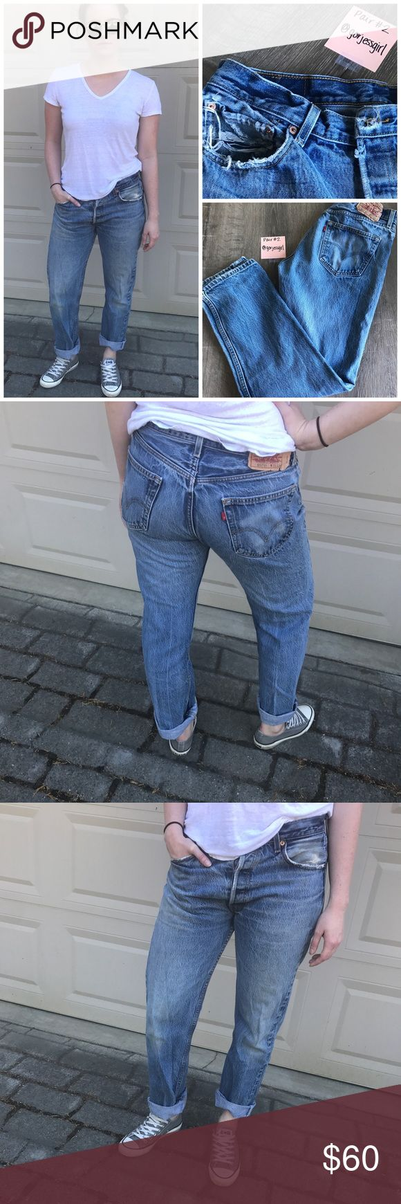 Levi's 501s distressed boyfriend mom jeans The perfect pair of boyfriend jeans. Levi 501 5 buttonfly Straight leg, high waisted Authentic distressing Men's size 35 x 34- actual measurements: waist 16 inches. Inseam 30.5 inches. Rise 11 in. Leg opening 7 in These are approx 10 years old and beautifully distressed.   Several pairs available each unique in distressing, this pair #2. Vintage look without the price! Wear on pockets and knees. Top button hole has wear. Wear at knees. Some small…