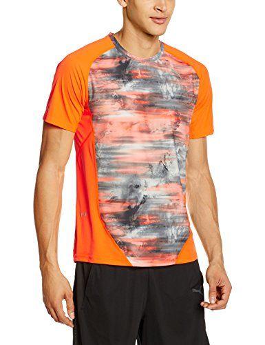 €7.99 in Gr. XL * PUMA Herren T-shirt S/S Tee, Shocking Orange/AOP graphic * Sportbekleidung günstig