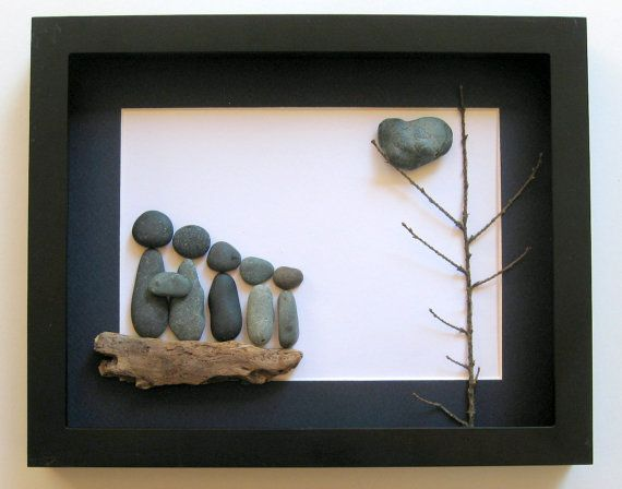 Personalized Family Gift - Custom Artwork-  Original Family Gift - Pebble Art - OOAK Gifts