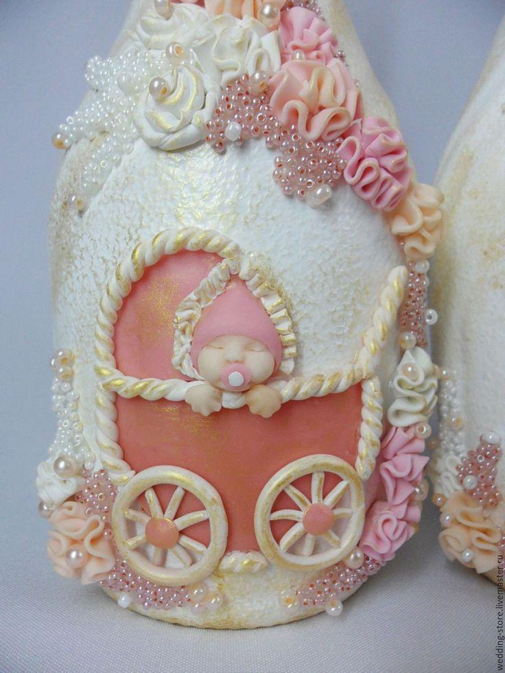 Купить Услуги по декорированию бутыло на годовщину свадьбы и рождение ребенка - бледно-розовый, годовщина свадьбы