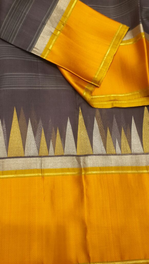 Black Grey pure organza silk saree with Korvai temple border
