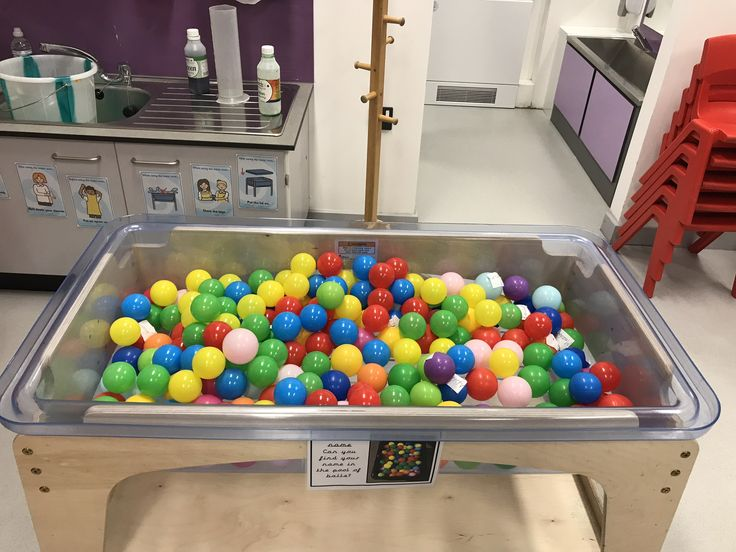 EYFS Name recognition game - Find your name in the ball pit