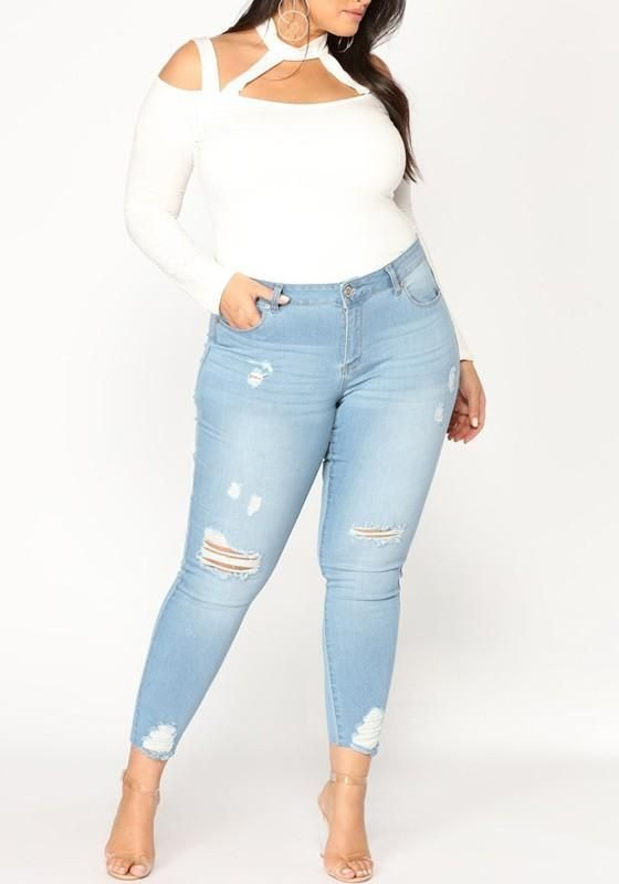 ad0eaf9a6e Light Blue Pockets Cut Out Plus Size Mom Boyfriend Casual Long Jeans ...