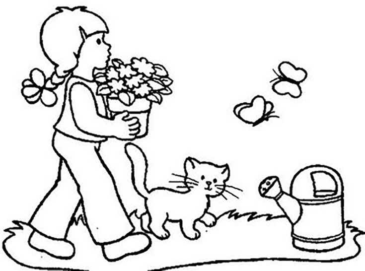 girl carrying flowers to the flower garden coloring pages for kids