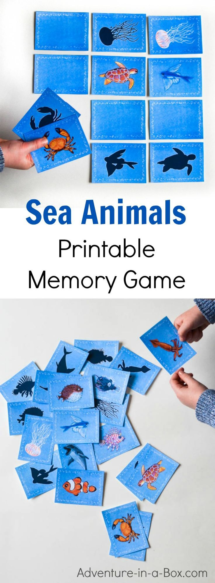 Sea animals printable memory game for kids. A fun matching game with 3 levels of complexity for different ages. Great for studying ocean with preschoolers as well as K-6!