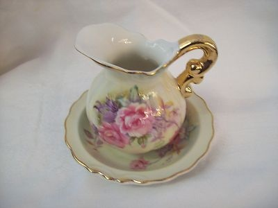 Vintage Lefton China Hand Painted Pitcher and Saucer  roses #6629: Rose 6629, Saucer Rose