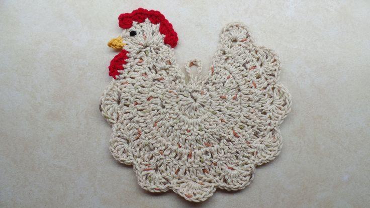 #Crochet Chicken Potholder #TUTORIAL