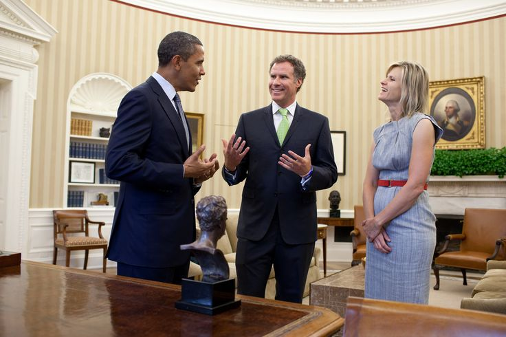 President Barack Obama meets with Will Ferrell in the Oval Office to congratulate him on recently winning the Mark Twain Prize for American Humor, Oct. 21, 2011. Ferrell's wife, Viveca Paulin, is at right.