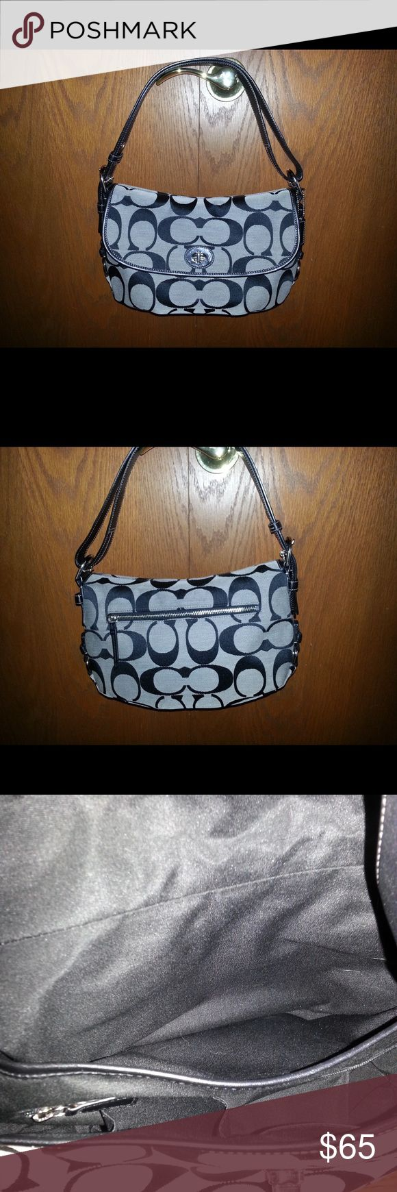 Black and white coach purse Like new black and white coach purse. Super clean inside and barely used. Coach Bags Shoulder Bags
