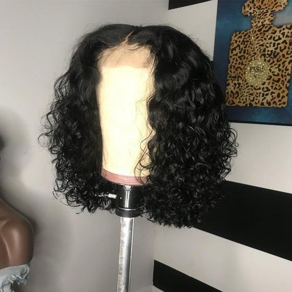 Indian Natural Curly Real Human Hair Short Curly Bob 13×6 Lace Front Wigs for Black Women Free shipping Short Hair Style Wigs