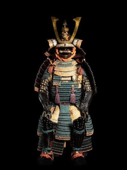 Ceremonial suit of armour for a samurai; Japan, helmet 1560; iron, gold, lacquer, silk; On loan; LI358.1 #Tashmolean
