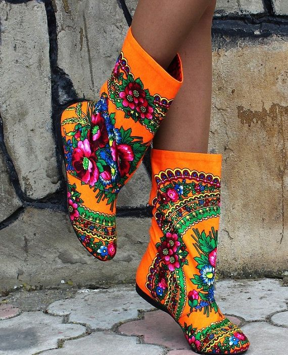 Fashion Cute Ornament Traditional Orange Boho Bohemian Luxury Summer Floral Flower Women Boots