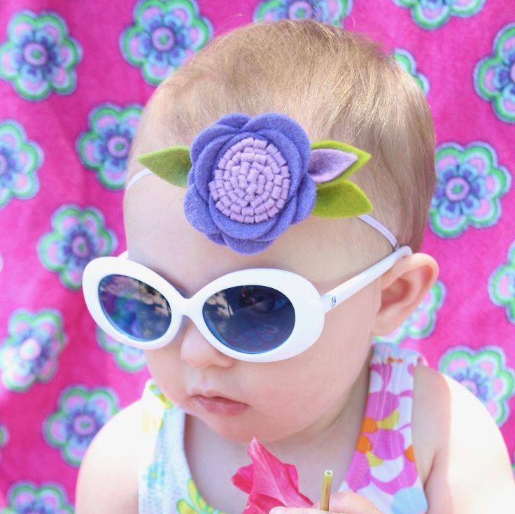 Purple Lavender Single Flower Headband-Felt Headband, Felt Flower Headband, Baby Girl Headband-Baby Newborn Headbands - felt flower headband by MyEnchantedMuse on Etsy