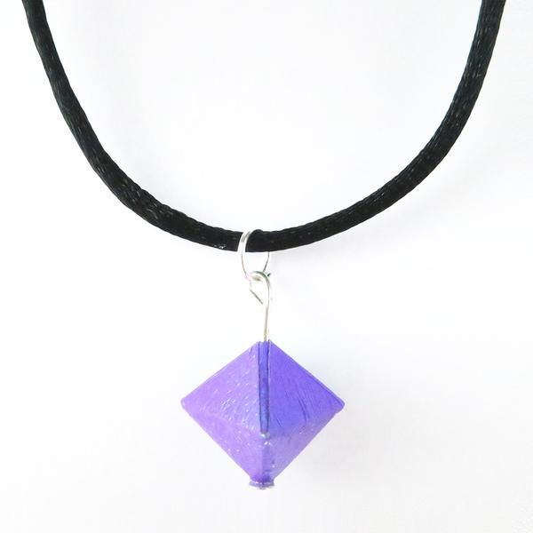 Purple Origami Geo Necklace. Made in UK. Customise options are also available. #geo #necklace #origami #paper #art