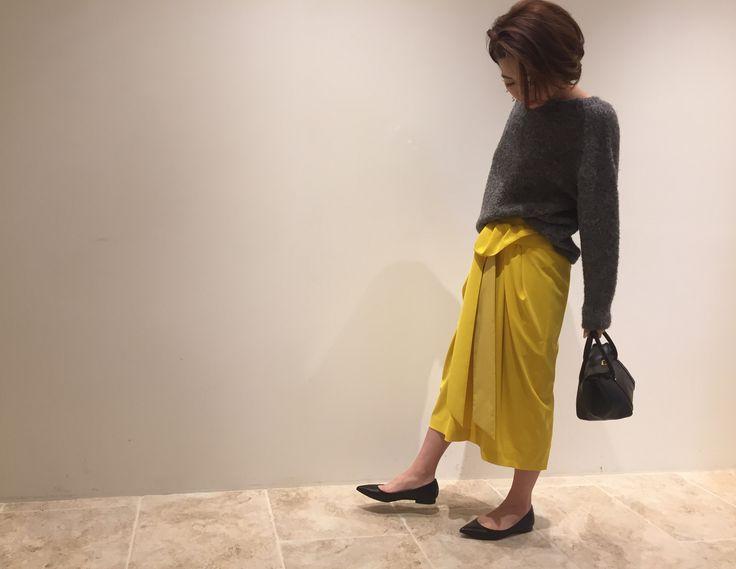 vivid yellow skirt