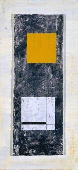 Two Forms (White and Yellow) by Barbara Hepworth, Tate. Date painted: 1955. Oil and drawing on board