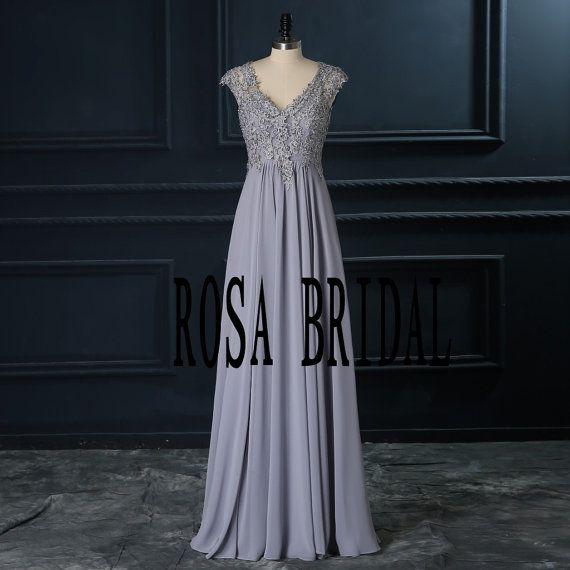 Plata / gris Vestido de Dama cuello V vestido largo por rosabridal