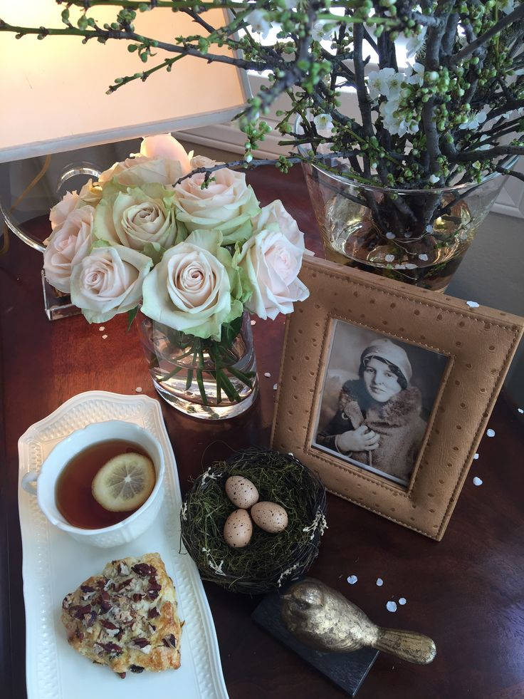 """WINTER 2018 Collection ~ Breakfast bedside with spring blossoms! Hot tea and a homemade orange and raisin scone with pecans...served with Gien """"Pont aux Choux"""" cream. Custom made leather frames, Ralph Lauren Discuss Table Lamp. All available. World Wide Shipping."""