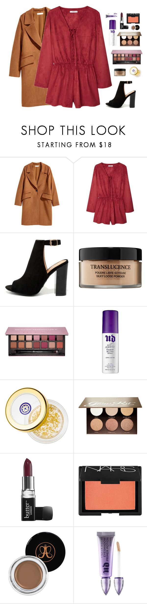 """Ever Since New York"" by btravis5252 ❤ liked on Polyvore featuring H&M, MANGO, Bamboo, Lancôme, Anastasia Beverly Hills, ULTA, Tatcha, Butter London, NARS Cosmetics and Urban Decay"