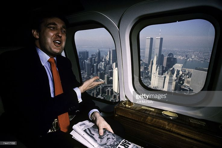Donald Trump, real estate mogul, entrepreneur, and billionare, utilizes his personal helicopter to get around on August 1987 in New York City.