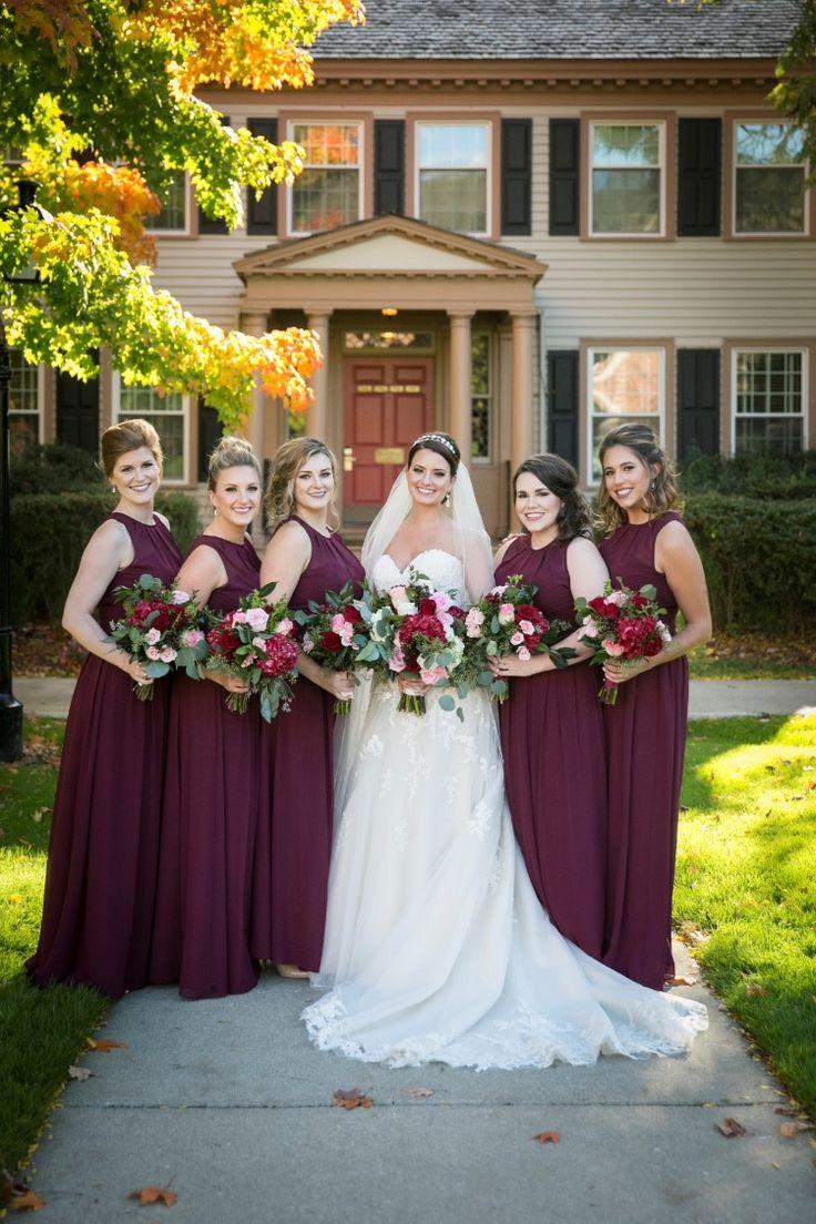 Elegant Hotel Wedding at The Dearborn Inn, MI  Gorgeous maroon bridesmaid dresses!   Photographer:  Green Holly Photography