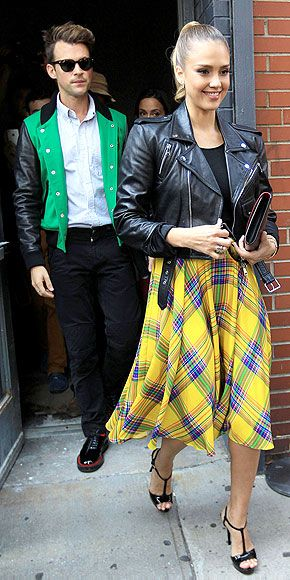 Jessica Alba goes retro in a top-to-toe Ralph Lauren Collection ensemble with her stylsit Brad Goreski doing his version of Grease chic.