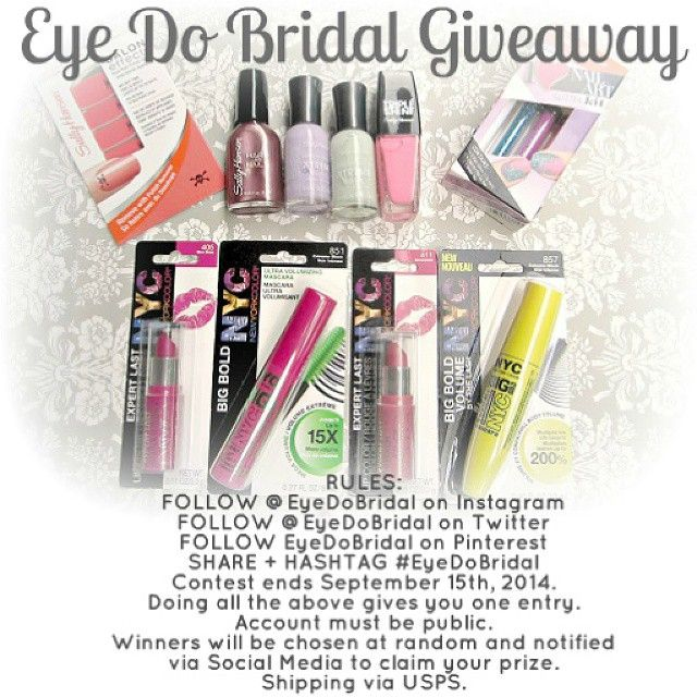 Make Up and Nail Polish Giveaway!! 3 Lucky Winners will win (1) EYE + (1) LIP Product 1 Lucky Winner will win (4) NAIL POLISH COLORS + NAIL ART KIT + NAIL POLISH STRIPS  Just follow Eye Do Bridal on Pinterest, Twitter, and/or Instagram to be entered to win
