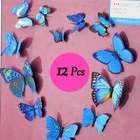 12pcs PVC 3D Magnet Butterflies Wall Sticker Home Decor Decals Art DIY for Wedding/Party Decor