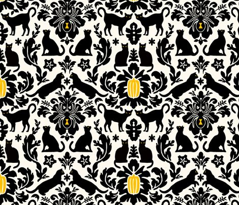 Black Cat Damask fabric by jenimp on Spoonflower - custom fabric
