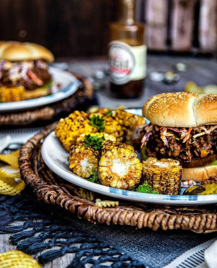 Sloppy Joe's are the sustenance of life. #myfoodeatsyourfood  . One of my very favorite summer recipes. Gourmet steakhouse sloppy joe's tuned up with a special butcher's blend of ground steak BLiS Blast Steak Sauce garlic onion and a garden of fresh herbs. Loaded over toasted artisan Kaiser rolls and garnished with a homemade sweet and spicy coleslaw. Paired with grilled corn on the cob and an ice cold 6 of #PureMichigan craft brew. - Cheers David  Blog: http://ift.tt/1vCV6pv  #chef…
