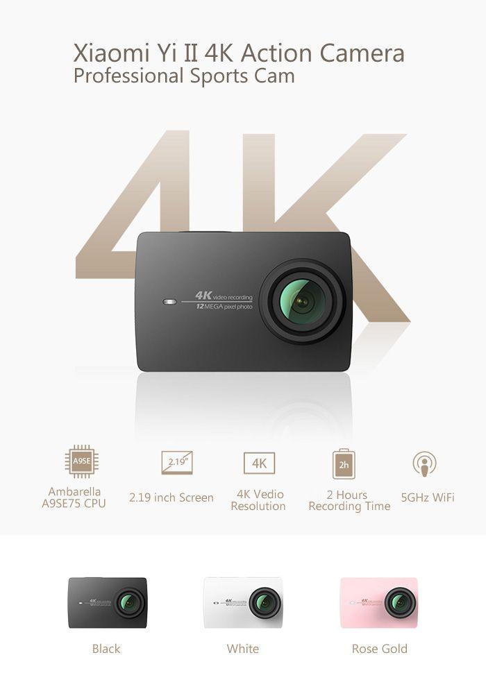 Original Xiaomi Yi II International Version WiFi 4K Sports Action Camera 155 Degrees Wide Angle  -  BLACK