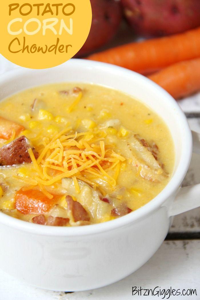Potato Corn Chowder - A flavorful combination of potatoes, corn, carrots and bacon in a creamy, cheesy broth! A delicious soup recipe!
