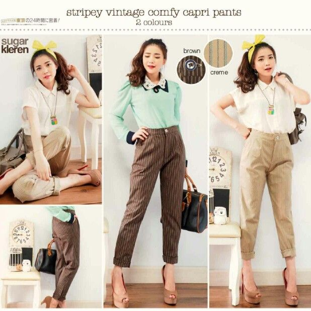 Stripey Vintage Baggy Pants Matterial : Woolen Import Colour : creme, brown IDR 150000