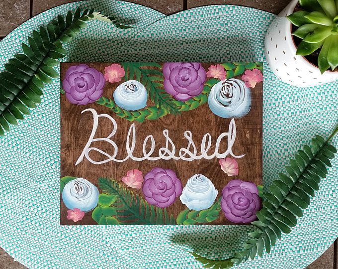 """""""Blessed"""" Floral Wooden Wall Decor  Browse unique items from WildNorthCreations on Etsy, a global marketplace of handmade, vintage and creative goods."""