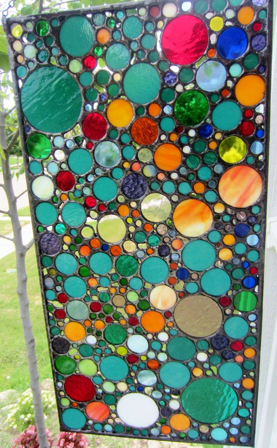 Handmade Stained Glass Art Abstract Circle by JBsGlassHouse