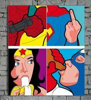 """""""The secret life of heroes""""-pop artrt pittura di arte della parete della decorazione della parete olio con stretched"""
