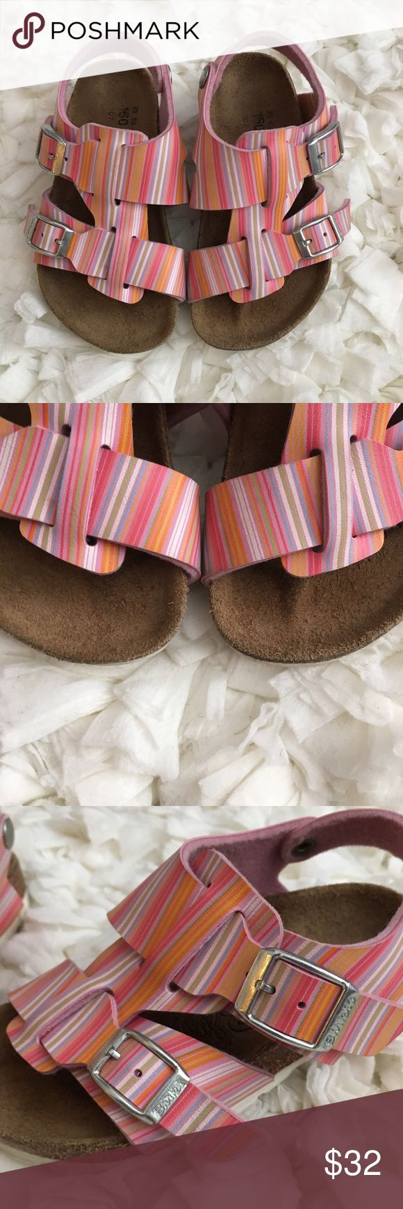 Birki's Birkenstock Toddler Girls Striped Sandals Excellent used condition! Shows normal wear on bottom of shoes Birkenstock size 25 or girls 7-7.5! Smoke and pet free home. No trades. Birkenstock Shoes Sandals & Flip Flops