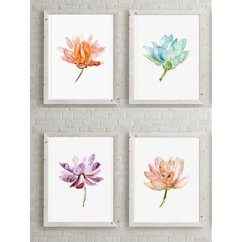➽ SIGNED and numbered giclee art print of my lotus watercolors  SIZE OF PAPER: Please choose when you order  ➽ ABOUT THE FINE ART PRINTS (A4 and