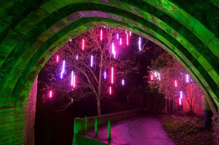 'Winter Garden for Lumiere', neon by Simon Corder, Lumiere Durham 2009.  Photo by Matthew Andrews.