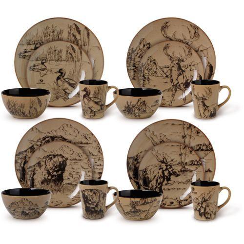 Dinnerware-Set-16-Piece-Service-for-4-Hunter-Special-Brown-Black-Plate-Bowl-Mug
