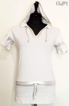 1 darab Dilemma női kapucnis fehér felső, elasztikus anyagból, L-es méretben.