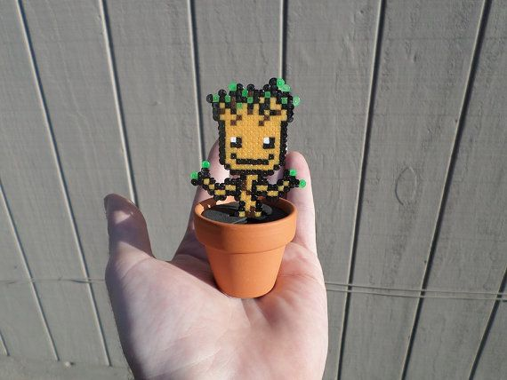 Mini Groot Fusion Bead Potted Plant / Hama / von PixelatedBeads