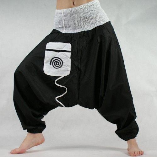Turecké kalhoty - Aladinky - Haremky - Pumpy černo-bílé