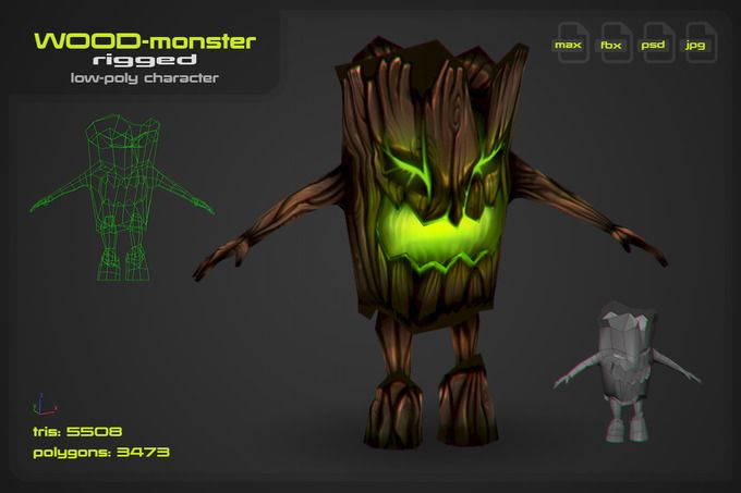 Wood Monster by stallfish's art store on @creativemarket